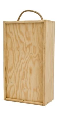 Estuche de madera genérico con las palabras vino Selecto escritas de 2 botellas